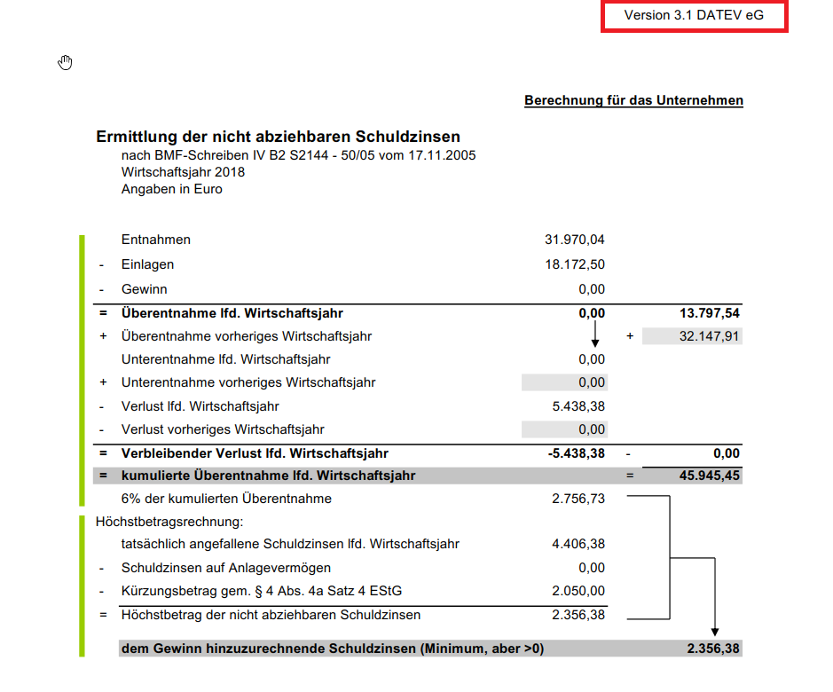 Ermittlung nicht abzgsf. Zinsen § 4 Abs. 4a EStG - DATEV ...